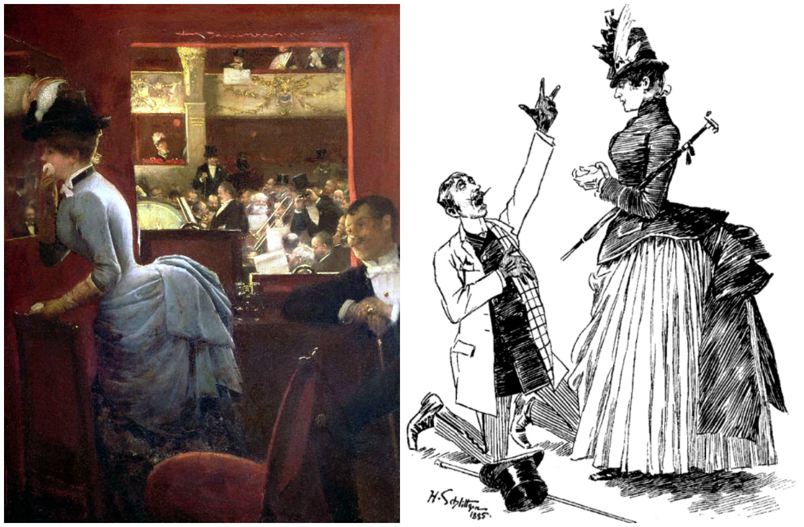 Left: The Box by the Stalls by Jean-Georges Béraud - 1883. Right: An 1885 proposal caricature