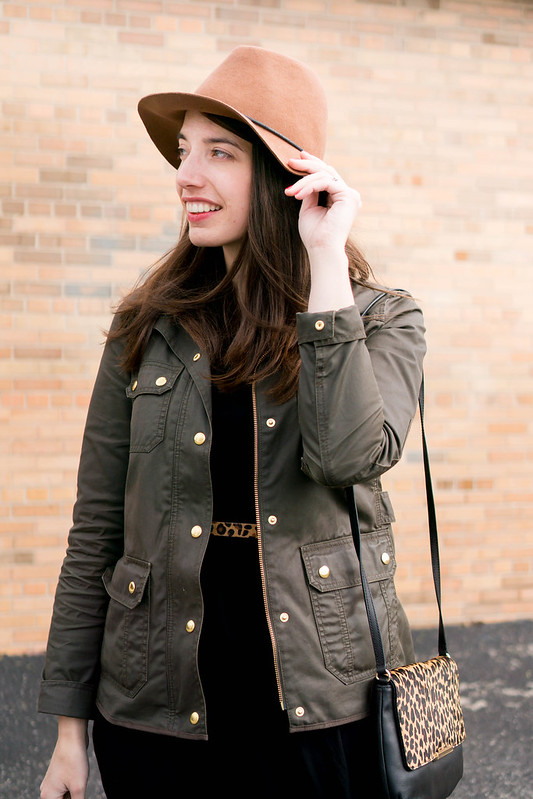 black fit and flare dress Old Navy + J.Crew field jacket + leopard print + Target beige ankle boots; spring casual outfit | Style On Target, Indianapolis style blog