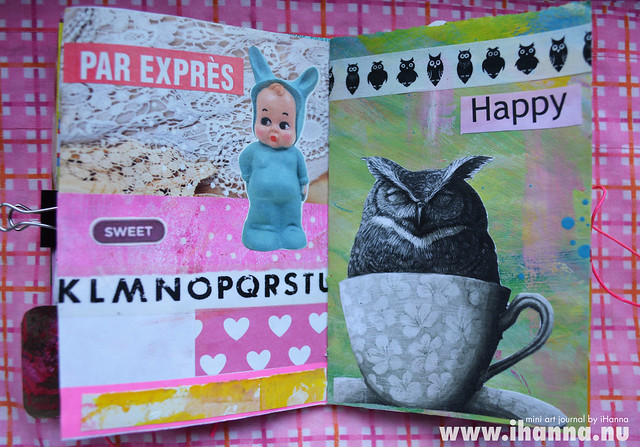 Mini Art Journal Baby and Owl (not too happy) - created by iHanna