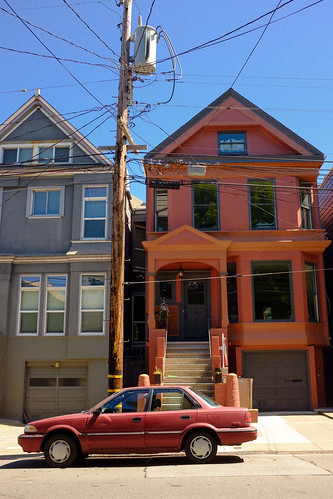 San Francisco - car and houses, Haight-Ashbury