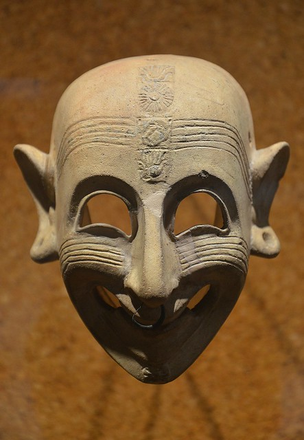 Phoenician grinning mask, 4th century BC, found in a grave at San Sperate, Cagliari, Museo Archeologico Nazionale