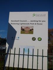 Lightwoods Park - Bearwood - Lightwoods House - restoration works begins - sign - Sandwell Council..... working for you Restoring Lightwoods Park & House