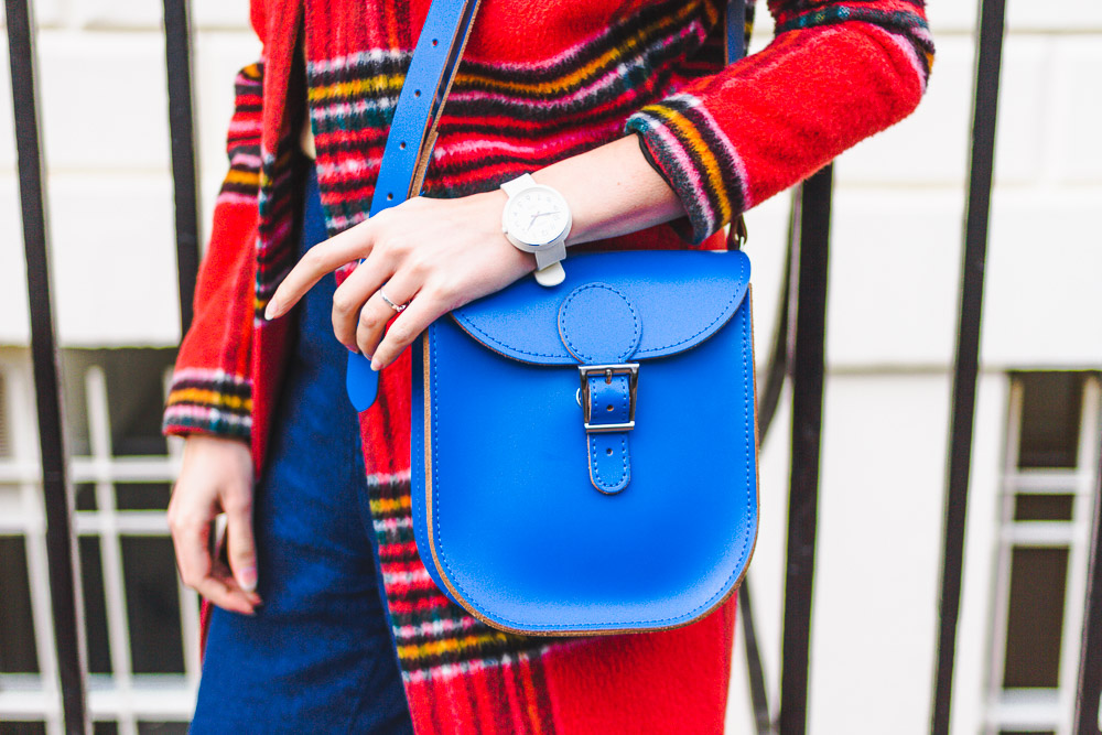 check plaid tartan red coat blue leather bag