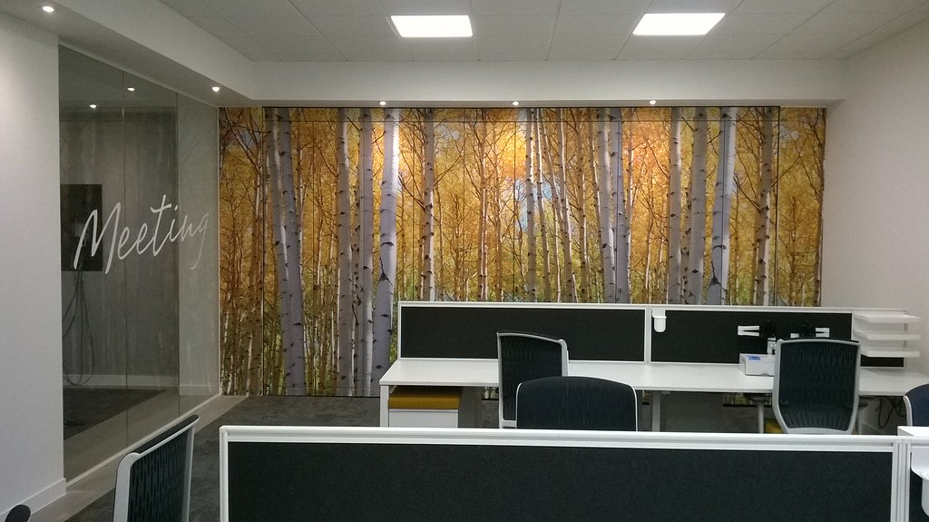Digitally printed wall wrap covering cupboards