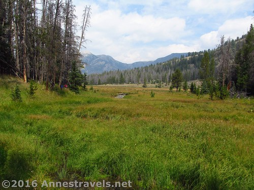 Traversing the initial meadow - notice Slide Creek? White Rock Northeast Slopes, Wind River Range, Wyoming