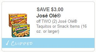 Reset Jose Ole Snacks Coupon