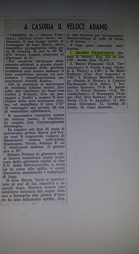 Articolo giornale vittoria Coppa Lepori 1972 - Francesco Adamo