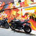 Motorcycles and murals off Arab St., Singapore