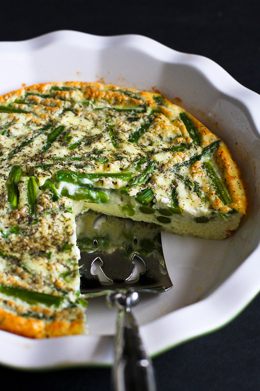 Asparagus and Feta Cheese Crustless Quiche…An easy and healthy vegetarian quiche for springtime! 108 calories and 3 Weight Watcher SmartPoints