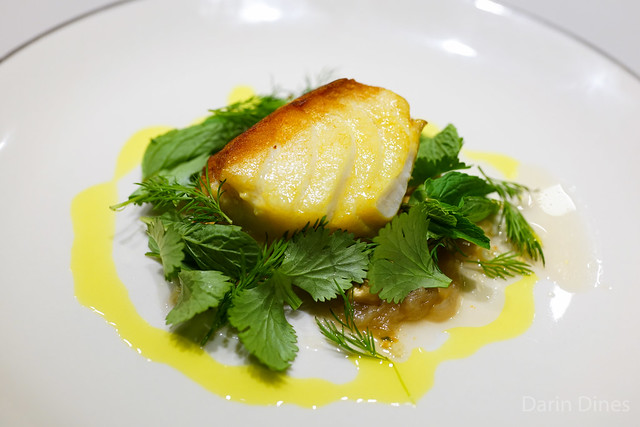 Broiled wild cod, turmeric, caramelized shallots, roasted peanuts, fresh dill