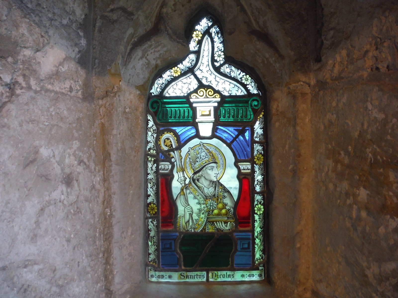 St. Nicholas stained glass window in porch of St. Margaret the Queen, Buxted Park SWC Walk 262 Uckfield to Buxted