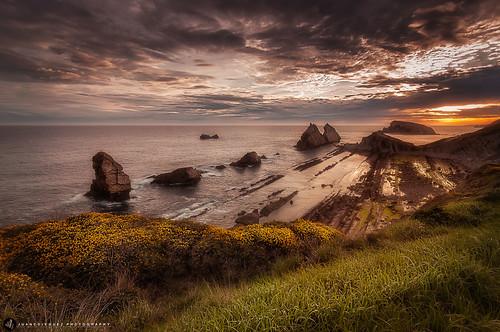 españa costa mar europa playa paisaje led amanecer nubes es litoral santander acantilado rocas cantabria islote puntodefuga liencres marcantabrico entorno ecosistema rocoso urros costaquebrada brezos playadelaarnia