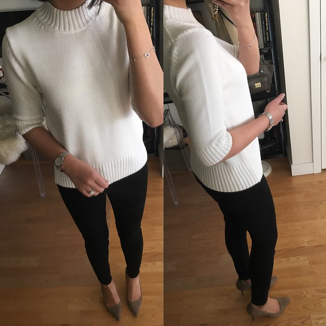 Ann Taylor Shrunken Mock Neck Sweater, size M regular