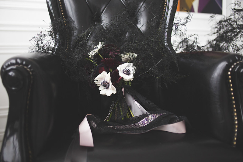 Black and white wedding bouquet for Black and white wedding dress for A Magic Black Wedding Inspiration Shoot | Photo by Anastasia Marchenko of Your Personal Photographer | Read more on Fab Mood - UK wedding blog #blackwedding #weddingideas
