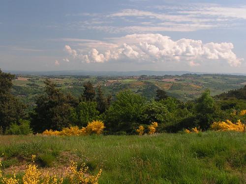 20080514 22770 0904 Jakobus Weite Hügel Ginster Ortschaften Wolken gelb weiß