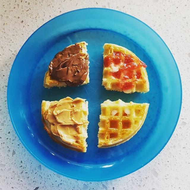 Toddler breakfast for the win (hopefully) #nutella #strawberryjam #peanutbutter #maplesyrup