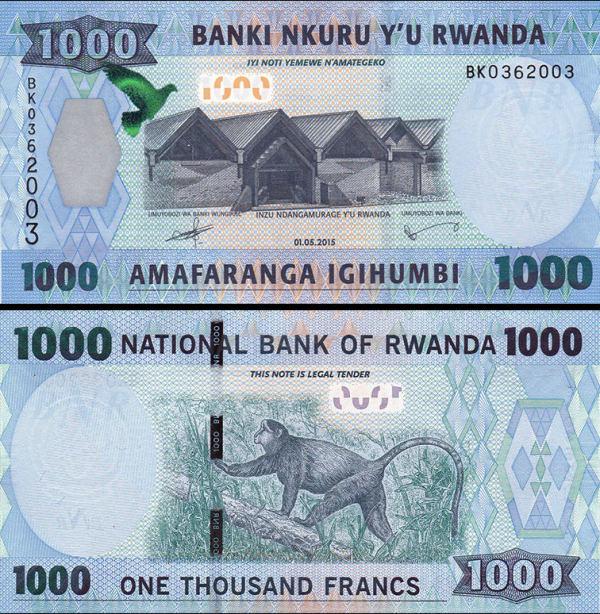 500 Francs Rwanda 2015, P39 UNC