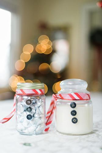 Snowman jars.