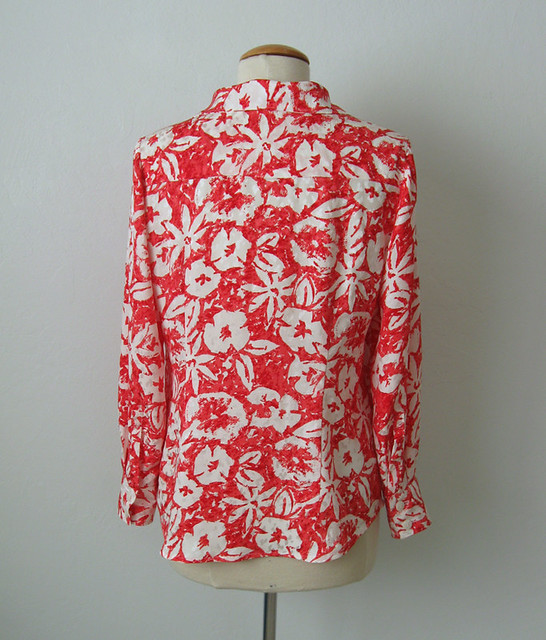 coral silk blouse back on form