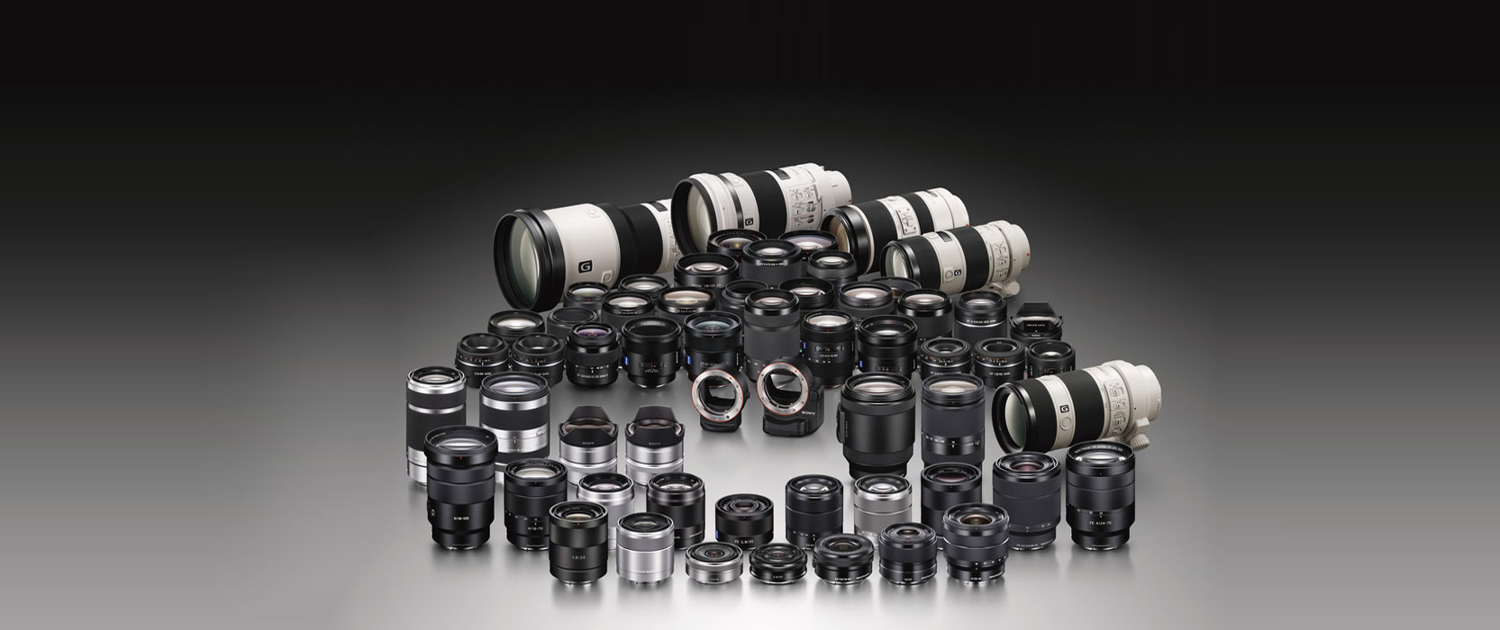 besides native fe lenses e mount cameras are compatible with a wide array of dslr lenses via the use of adapters but those are outside the scope of this