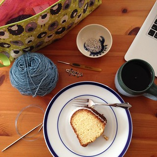 Tea, cake, yarn, beads, pattern, and a new project bag.  What more does a knitter need on a wintry day? #knittersofinstagram #cozywinter