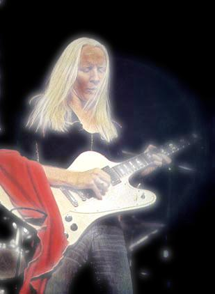 Johnny Winter playing Gibson Firebird White