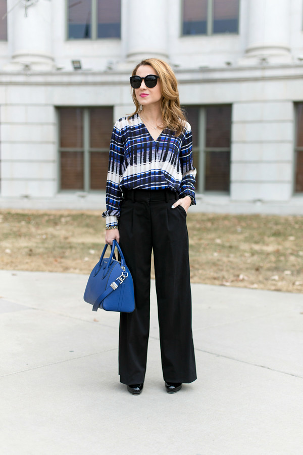 Wrap blouse + wide leg pants