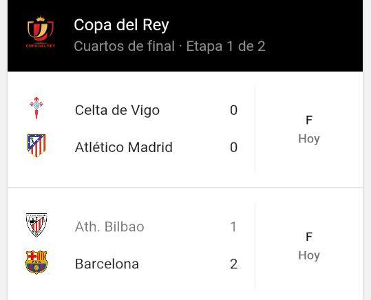 Copa del Rey - Cuartos de Final (Ida): Resultados