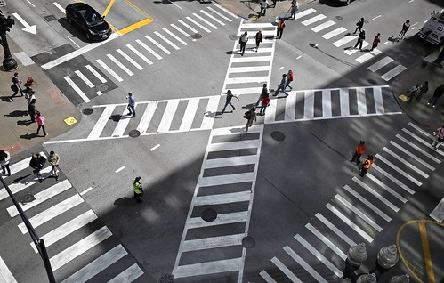Pedestrian scramble, Jackson Boulevard and State Street, Chicago