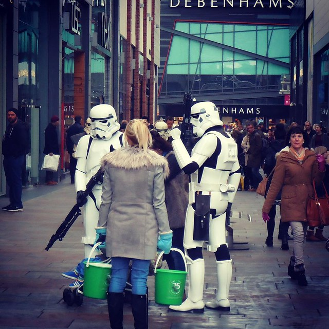 'These are not the droids you are looking for' - Imperial Stormtroopers spotted outside Debenams in Wakefield.