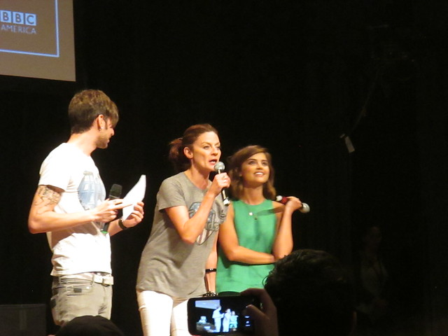 Party Host Jake Roper, Michelle Gomez, and Jenna Coleman by Peter Lee