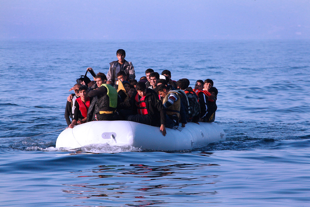 Refugees Approach the Greek Island of Lesvos