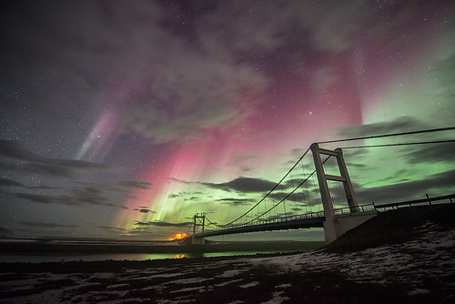 Aurora and Jökulsárlón bridge - Iceland