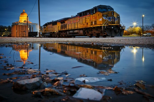 Notley Hawkins Photography, Jefferson City MO Photographer, Jefferson City MO Photo, Jefferson City Missouri Photography, Jefferson City Missouri, Union Pacific Railroad, locomotive, train, Jefferson City MO, nocturne, blue hour, puddle, reflection