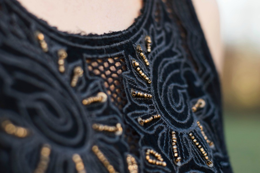 bronze beading on a tank dress