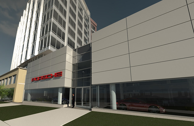 Porsche dealership rendering in revit cloud