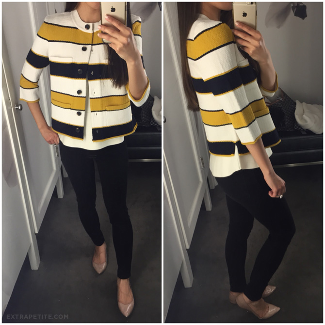 ann taylor spring striped sweater jacket