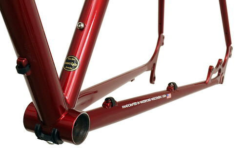 <p>Gunnar Fastlane in Candy Red - chainstay detail.  The Fastlane is ideal for commuting; gravel racing; medium touring and lots of other kinds of riding.  The chainstay disc mounts let you add a rear rack and provide excellent wet weather braking.  Shown here in the optional Candy Red</p>