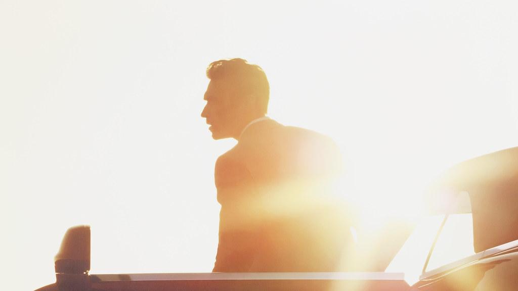 Man in Rolls Royce in Sunset Bokeh