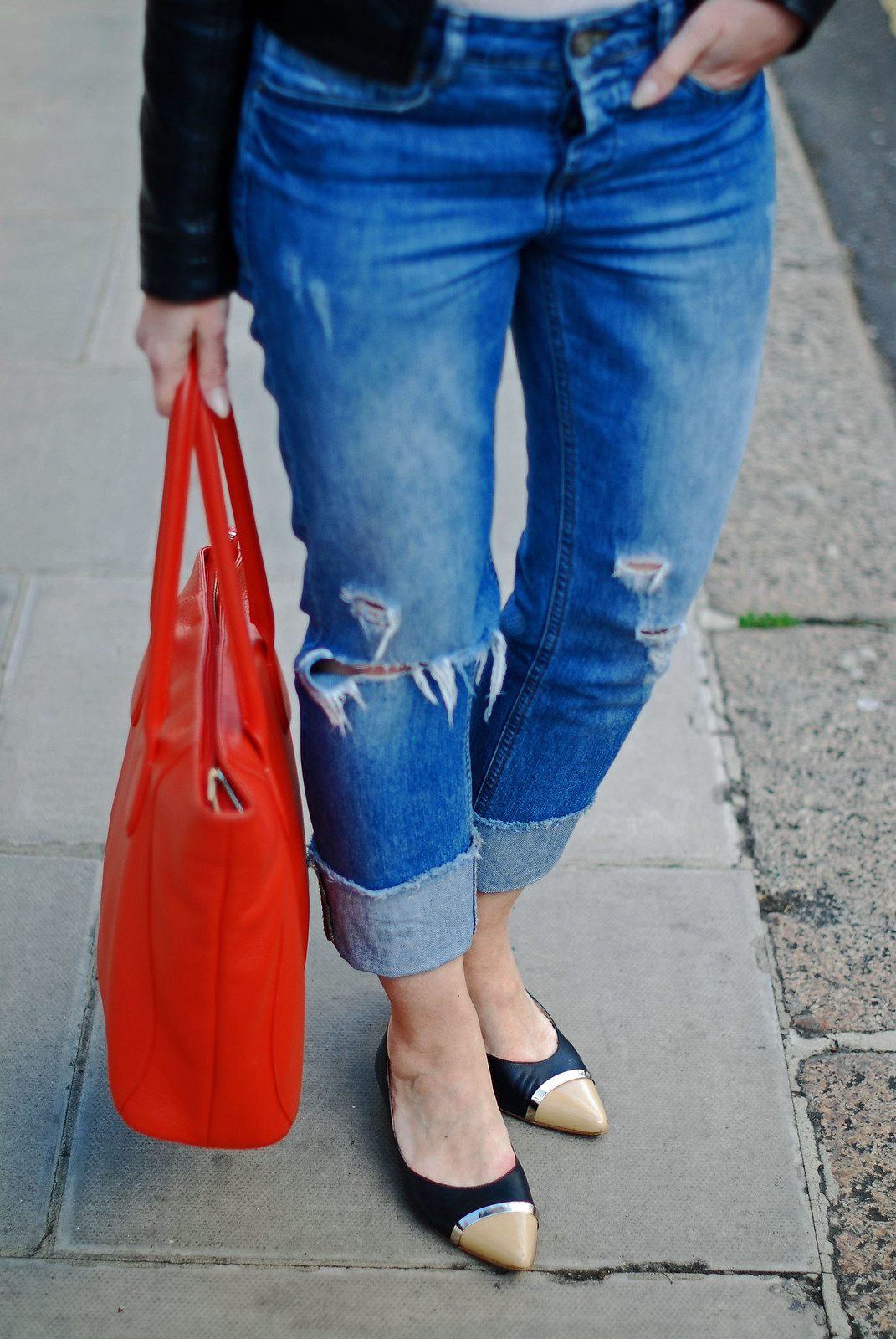 SS16 Style: Distressed boyfriend jeans, black biker jacket, orange tote, pointed two-tone flats | Not Dressed As Lamb