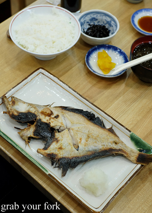 Grilled fish from Asaichi Shokudo Makoto Yasube at Hakodate Morning Market, Hokkaido