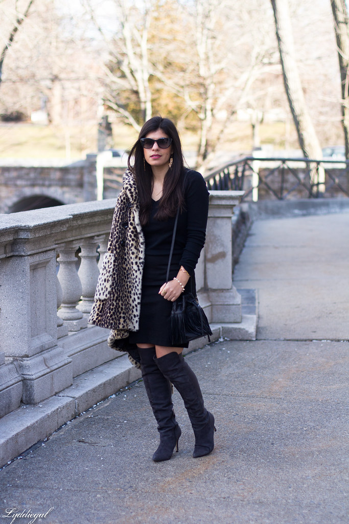 Black skirt, black top, leopard fur coat, over the knee boots-1.jpg