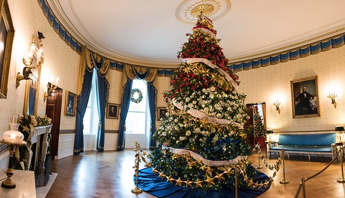 White House Blue Room - Christmas Decor 2015