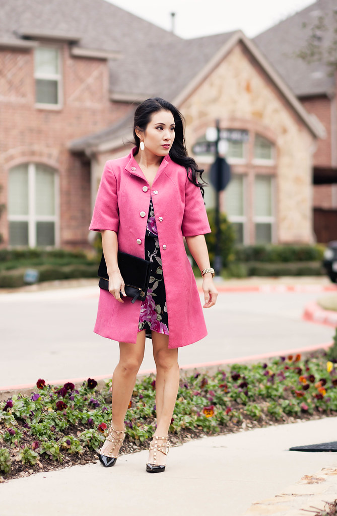 Pink Coat   Black Floral Dress - cute &amp little