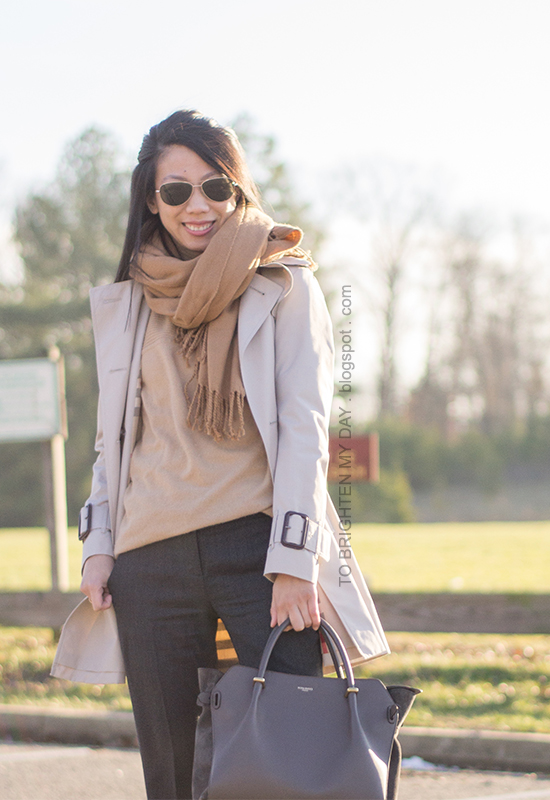camel scarf, trench coat, camel tunic sweater, dark gray pants