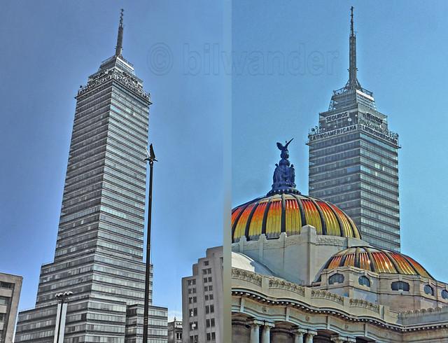 Mexico City, Torre Latinoamericana (1956, 182/204m) &  Palace of Fine Arts domes