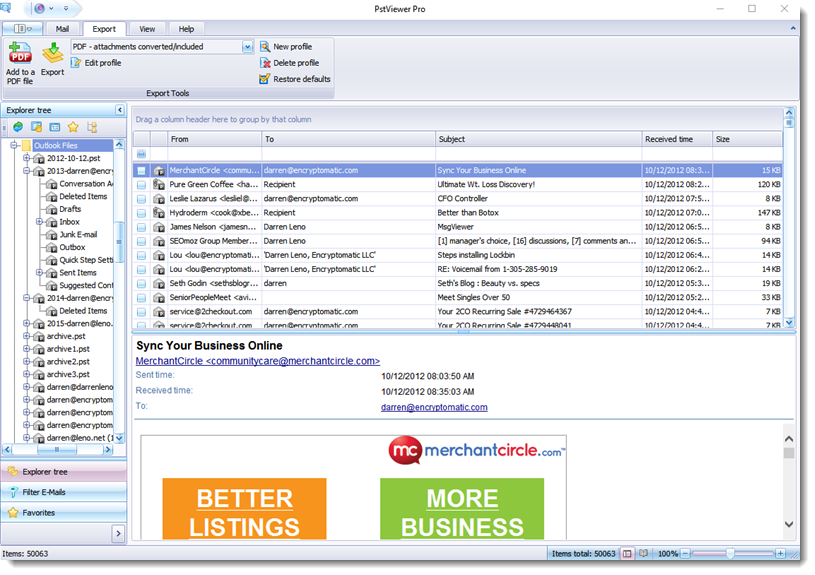 PSTViewer Pro full screenshot