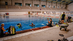 Police training at the Aquatic Center