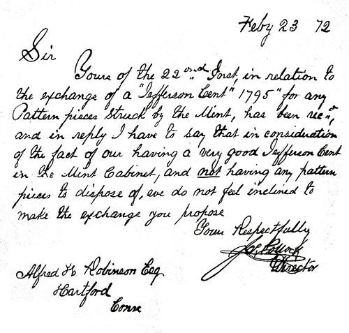 1872 Alfred Robinson letter re 1795 Jefferson Cent trade