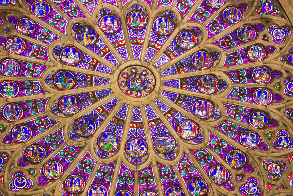 Close up of Rose window Notre Dame